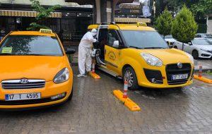 Taksiler Dezenfekte edildi