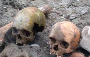 Gölet havzasında 4 kafatası ve kemikler bulundu